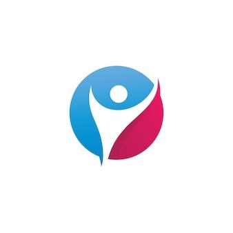Plantilla de icono de logotipo de cuidado de personas de éxito