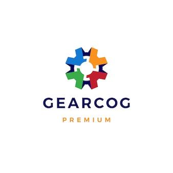Plantilla de icono de logotipo de engranaje cog cogs colorido