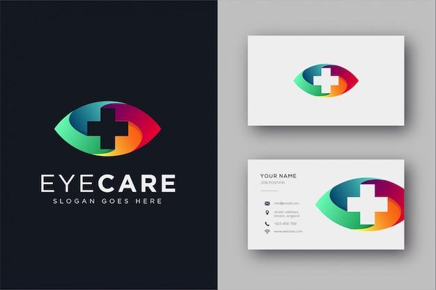 Plantilla de icono de logotipo médico de atención ocular y plantilla de tarjeta de visita