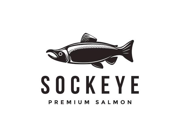 Plantilla de icono de logotipo de pescado de salmón rojo vintage