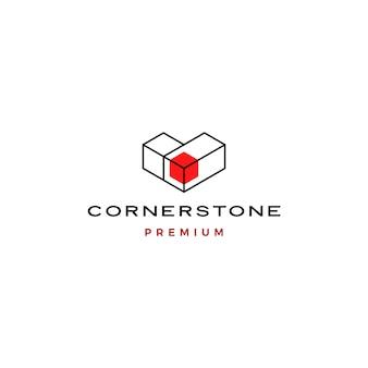Plantilla de icono de logotipo de piedra de esquina