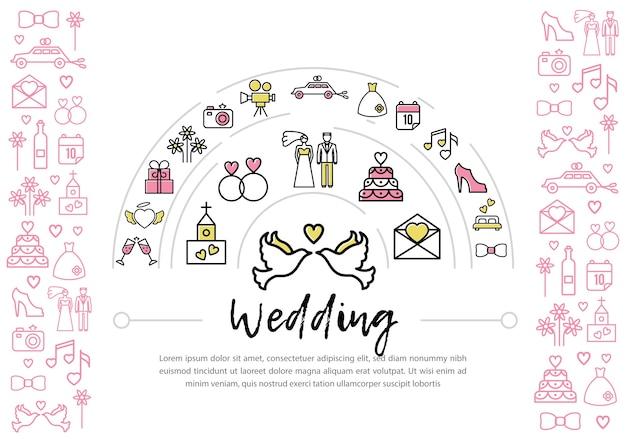 Plantilla de iconos de línea de boda