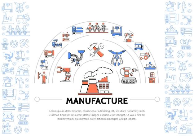 Plantilla de iconos de línea colorida de producción con maquinarias de equipos industriales martillo de llave de fábrica