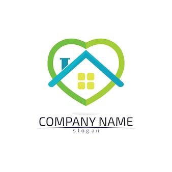 Plantilla de iconos de logotipo de bienes raíces y edificios de viviendas