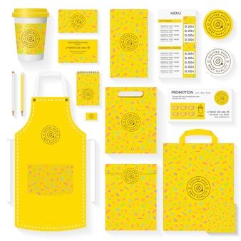 Plantilla de identidad corporativa de cafetería con patrón geométrico amarillo de memphis