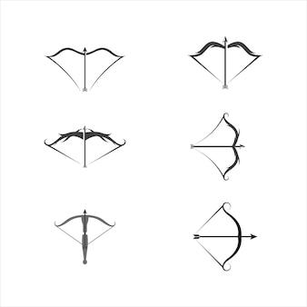 Plantilla de ilustración de diseño de icono de vector de ballesta