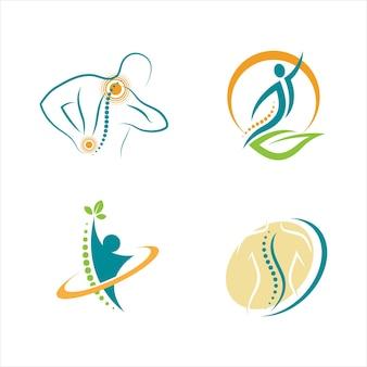 Plantilla de ilustración de diseño de icono de vector de símbolo de quiropráctica