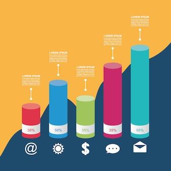 Plantilla de ilustración de infografía empresarial gráfico diagrama de gráfico de barras
