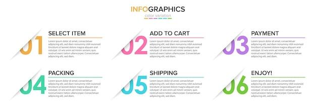 Plantilla para la ilustración de infografías de compras Vector Premium