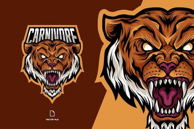 Plantilla de ilustración de logotipo de deporte de mascota de tigre enojado