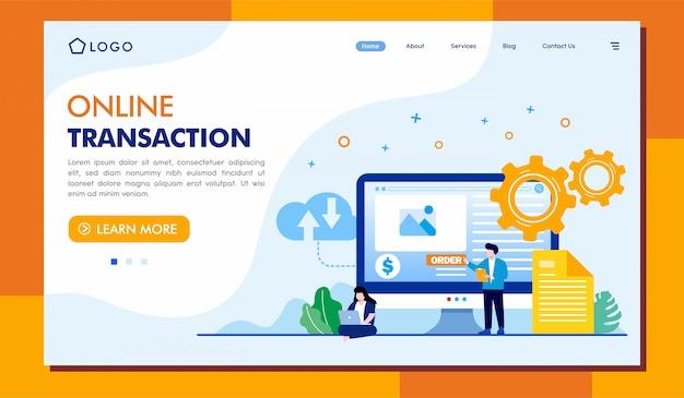 Plantilla de ilustración de página de aterrizaje de transacciones en línea