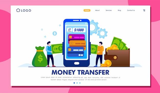 Plantilla de ilustración de página de destino de transferencia de dinero