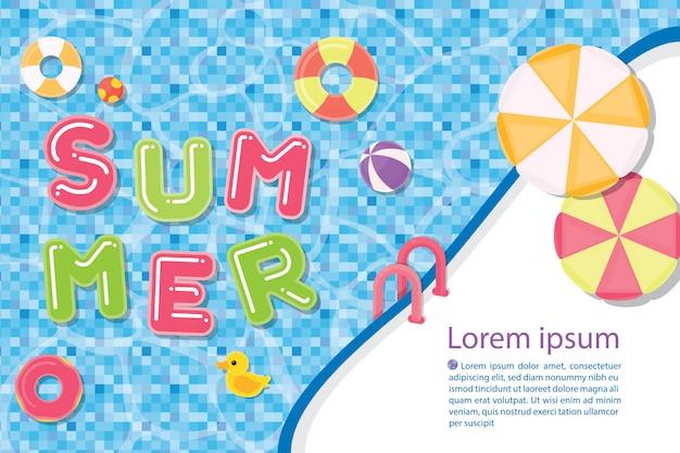 Plantilla de ilustración plantilla de verano con piscina