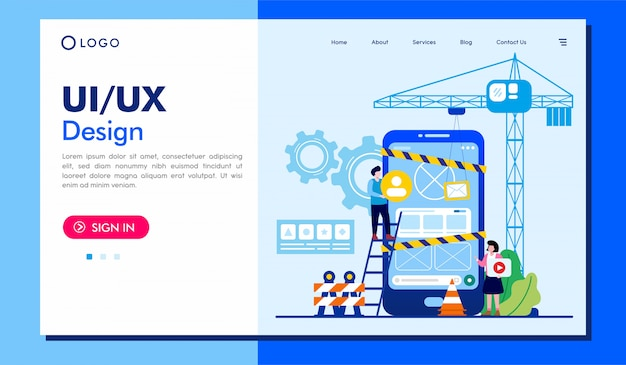 Plantilla de ilustración de sitio web de página de destino de diseño ui / ux