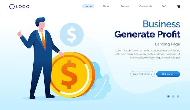 Plantilla de ilustración de sitio web de página de destino de generar ganancias