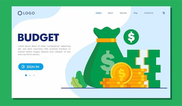 Plantilla de ilustración de sitio web de página de destino de presupuesto
