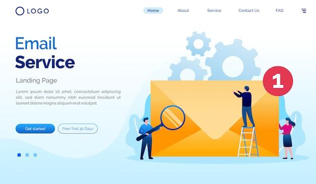Plantilla de ilustración del sitio web de la página de destino del servicio de correo electrónico