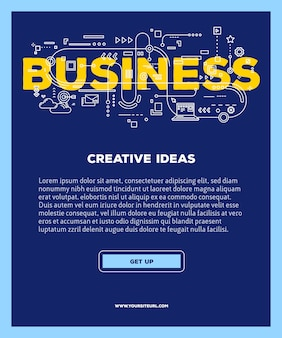 Plantilla con ilustración de tipografía de letras de palabra empresarial con iconos de línea sobre fondo azul. estructura de negocio .
