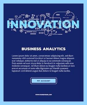 Plantilla con ilustración de tipografía de letras de palabra innovación con iconos de línea sobre fondo azul. tecnología de innovación.