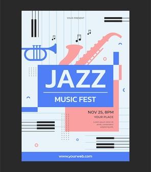Plantilla de ilustración de vector de cartel de evento de música de jazz
