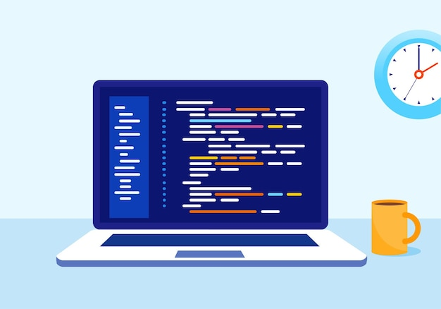 Plantilla de ilustración de vector plano de desarrollador de programador de codificación