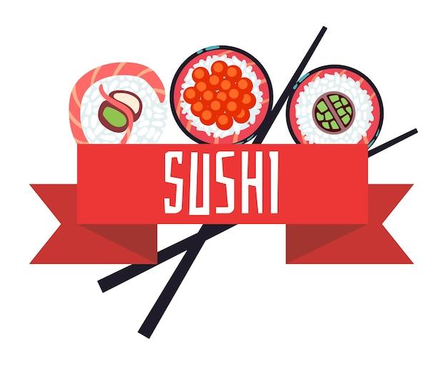 Plantilla de ilustración de vector de sushi japonés menú