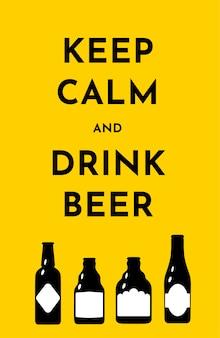 Plantilla de ilustración vectorial con botellas de cerveza