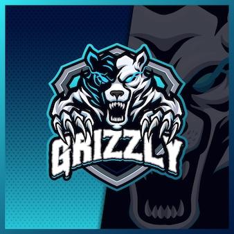 Plantilla de ilustraciones de diseño de logotipo de esport de mascota de rugido de osos grizzly, estilo de dibujos animados de oso polar