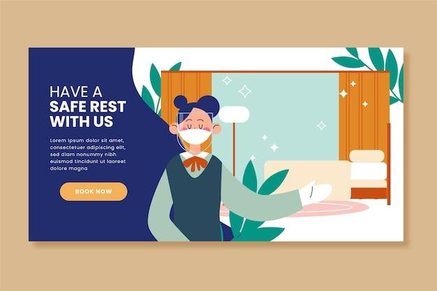 Plantilla ilustrada de banner de hotel