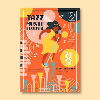 Plantilla ilustrada del cartel del festival de música de jazz