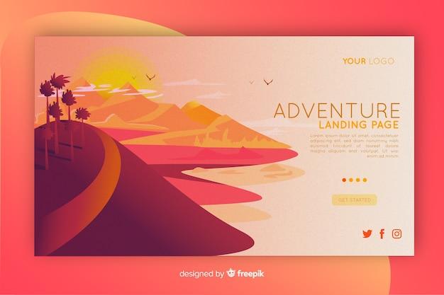 Plantilla ilustrada de la página de aterrizaje de aventura