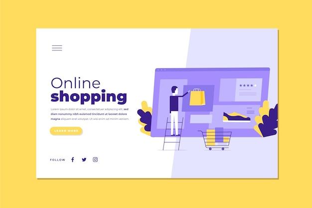 Plantilla ilustrada de página de destino de compras en línea