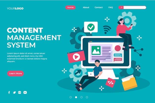 Plantilla ilustrada de página de destino del sistema de gestión de contenido
