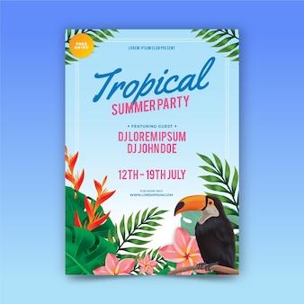 Plantilla ilustrada de póster de fiesta tropical