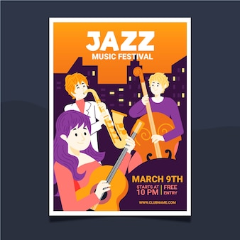 Plantilla ilustrada de póster de música
