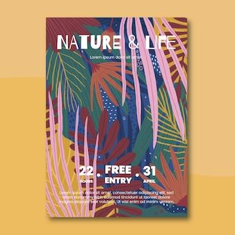 Plantilla ilustrada de póster de naturaleza tropical