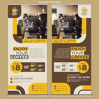 Plantilla de impresión de banner enrollable de cafetería con estilo de diseño plano