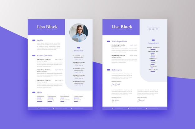 Plantilla de impresión de curriculum vitae minimalista
