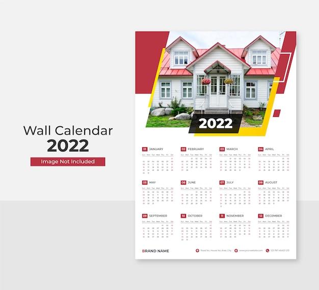 Plantilla de impresión de diseño de calendario de pared moderno 2022 vector premium