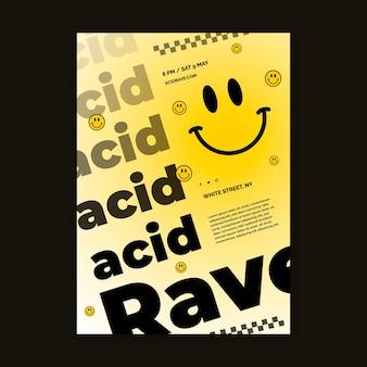 Plantilla de impresión de emoji ácido de diseño plano creativo
