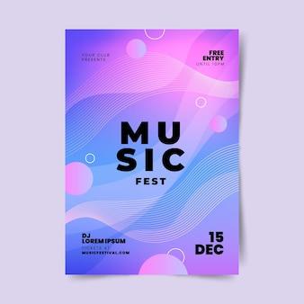 Plantilla de impresión de festival de música degradado