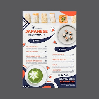 Plantilla de impresión de menú de restaurante japonés