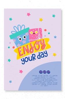 Plantilla de impresión de tarjeta de fiesta de cumpleaños infantil