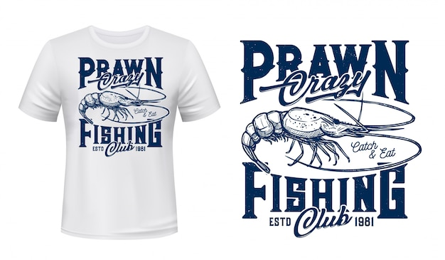 Plantilla de impresión de vector de camiseta de pesca de gambas