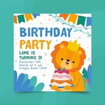 Plantilla de impresión de volante cuadrado de feliz cumpleaños león