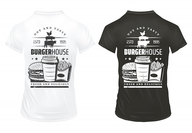 Plantilla de impresiones de comida rápida vintage con inscripción hamburguesa soda papas fritas en camisas blancas y negras aisladas
