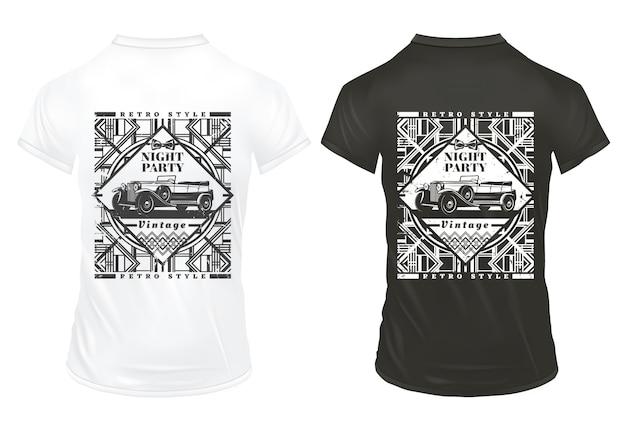 Plantilla de impresiones de fiesta nocturna vintage con inscripción automóvil clásico y tracerías retro geométricas en camisas aisladas