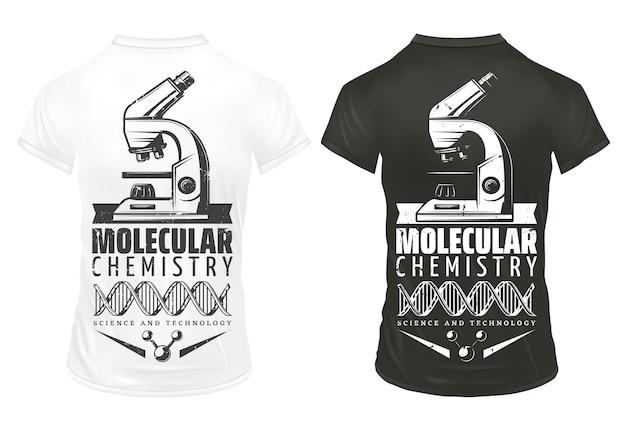 Plantilla de impresiones de investigación de laboratorio vintage con estructura molecular de adn de microscopio de inscripción en camisas blancas y negras aisladas