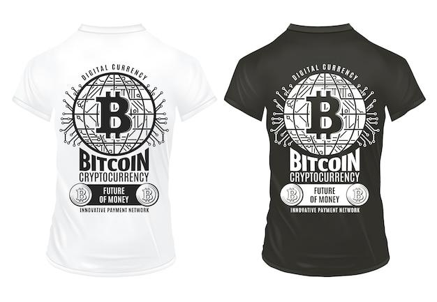 Plantilla de impresiones de moneda criptográfica bitcoin vintage con inscripciones red de pago virtual de monedas en camisas blancas y negras aisladas