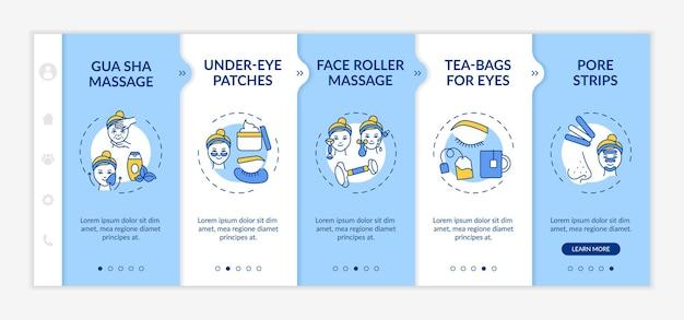 Plantilla de incorporación de procedimientos de tratamiento facial en el hogar. parches debajo de los ojos. bolsitas de té para los ojos. sitio web móvil receptivo con iconos. pantallas paso a paso del tutorial de la página web. concepto de color rgb